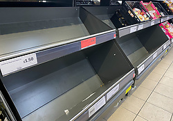 © Licensed to London News Pictures. 26/12/2020. London, UK. Empty shelves of fruit and vegetable in Sainsbury's supermarket in north London on Boxing Day. Photo credit: Dinendra Haria/LNP