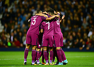 Leroy Sane of Manchester City celebrates with his teammates  after scoring his teams 1st goal. Carabao Cup 3rd round match, West Bromwich Albion v Manchester City at the Hawthorns stadium in West Bromwich, Midlands on Wednesday 20th September 2017. pic by Bradley Collyer, Andrew Orchard sports photography.