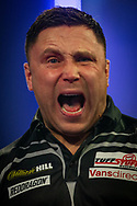 Gerwyn Price (Wales) wins and celebrates during the William Hill World Darts Championship at Alexandra Palace, London, United Kingdom on 28 December 2020.