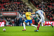 Brazil (10) Neymar, England (8) Eric Dier during the International Friendly match between England and Brazil at Wembley Stadium, London, England on 14 November 2017. Photo by Sebastian Frej.