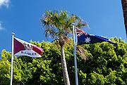 Manly Sea Eagles Rugby League Club flag flying alongside Australian Flag. Manly had a few days earlier won the Australian Rugby League Grand Final. Manly, Sydney, Australia