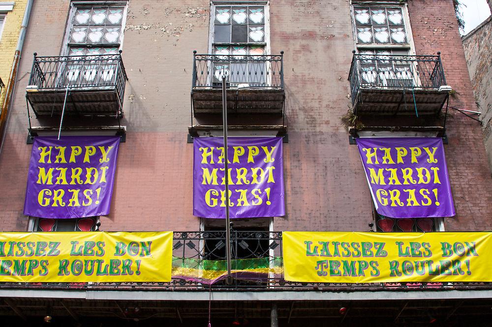 Mardi Gras Signs Along Bourbon St., French Quarter, New Orleans, LA