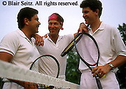Outdoor recreation, tennis, Tennis, Friendly Competition, Young Adult Men Companionship at Tennis