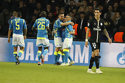 Napoli's joy after Dries Mertens scored the 2-1 goal during the Group stage of the Champion's League, Paris-St-Germain vs Napoli in Parc des Princes, Paris, France, on October 24th, 2018. PSG and Napoli drew 2-2. Photo by Henri Szwarc/ABACAPRESS.COM