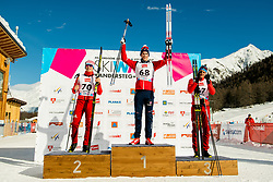 January 31, 2018 - Goms, SWITZERLAND - 180131 Denis Spitsov of Russia, Mattis Stenshagen of Norway and Ivan Yakimushkin of Russia on the podium after the men's 15km classic technique interval start during the FIS U23 Cross-Country World Ski Championships on January 31, 2018 in Obergoms..Photo: Vegard Wivestad GrÂ¿tt / BILDBYRN / kod VG / 170091 (Credit Image: © Vegard Wivestad Gr¯Tt/Bildbyran via ZUMA Press)