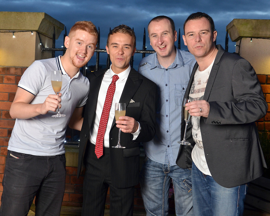 Jack P Shepherd & Lauren Shippey's Engagement.<br /> @ The Great John Street Holtel, Manchester<br /> Left to Right: Mikey North, Jack P Shepherd, Andy Whyment & Andrew Lansel.