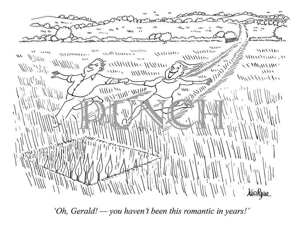 'Oh, Gerald! — you haven't been this romantic in years!' (a husband lures his wife into a booby trap of speers as they run through a field)