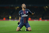 Lucas Moura of Paris Saint-Germain celebrates after scoring his sides 2nd goal. UEFA Champions league group A match, Arsenal v Paris Saint Germain at the Emirates Stadium in London on Wednesday 23rd November 2016.<br /> pic by John Patrick Fletcher, Andrew Orchard sports photography.