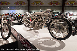 "John Stein's Barnjob drag bike originally built and campaigned by Clem Johnson, here displayed in the ""Built for Speed"" exhibition curated by Michael Lichter and Paul D'Orleans in the Russ Brown Events Center as part of the annual ""Motorcycles as Art"" series at the Sturgis Buffalo Chip during the Black Hills Motorcycle Rally. SD, USA. August 5, 2014.  Photography ©2014 Michael Lichter."