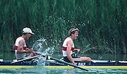 Banyoles, SPAIN, German Women's Pair. GER W2-;  Stefanie WERREMEIER ,and Ingeburg SCHWERZMANN - ALTHOFF silver medalist. 1992 Olympic Regatta, Lake Banyoles, Barcelona, SPAIN.    [Mandatory Credit: Peter Spurrier: Intersport Images]