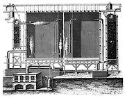Sectional view of Gay-Lussac's lead chambers and absorption towers, 1870.  These were for the large-scale production of sulphuric acid also known as Oil of Vitriol or H2SO4, one of the most important industrial chemicals. Invented in 1827, Gay-Lussac's (1778-1850) method only came into use after the invention by John Glover (1817-1902) of the denitrating tower (E) some thirty years later.  From 'Les Merveilles de l'Industrie' by Louis Figuier. (Paris, c1870). Engraving