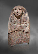 Ancient Egyptian sarcophagus lid of singer Asset, pink granite, 19th Dynasty (1279-1213 BC.) Thebes, Khokha, TT32. Egyptian Museum, Turin. Grey background.<br /> <br /> The lid of the coffin of  Singer Asset of Amon, wife of Djehutymes, depicts her wearing a wig and a broad collar. on her breast is an image of the sky goddess Nut with outstretched wings. In her right hand she hold a rattle called a sistrum, a cult implement indicating her devotion to Hathor, goddess of fertility. In her left hand she holds a standard with an image of Hathor's head depicted as a cow. The inscribed bands contain utterances by the gods of the netherworld placing the deceased under their protection .<br /> <br /> If you prefer to buy from our ALAMY PHOTO LIBRARY  Collection visit : https://www.alamy.com/portfolio/paul-williams-funkystock/ancient-egyptian-art-artefacts.html  . Type -   Turin   - into the LOWER SEARCH WITHIN GALLERY box. Refine search by adding background colour, subject etc<br /> <br /> Visit our ANCIENT WORLD PHOTO COLLECTIONS for more photos to download or buy as wall art prints https://funkystock.photoshelter.com/gallery-collection/Ancient-World-Art-Antiquities-Historic-Sites-Pictures-Images-of/C00006u26yqSkDOM