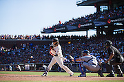 San Francisco Giants shortstop Brandon Crawford (35) swings at a pitch against the Los Angeles Dodgers at AT&T Park in San Francisco, Calif., on October 1, 2016. (Stan Olszewski/Special to S.F. Examiner)