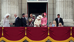 (left to right) Princess Michael of Kent, Prince Michael of Kent, The Duke of York, The Earl of Wessex, The Duchess of Cornwall, and The Duchess of Cambridge on the balcony of Buckingham Palace, in central London, following the Trooping the Colour ceremony at Horse Guards Parade as the Queen celebrates her official birthday today.