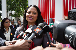 © Licensed to London News Pictures. 06/06/2015. London, UK. Rushanara Ali speaking to the Bengali media at a Labour Party rally for Tower Hamlets Mayoral candidate, John Biggs in Altab Ali Park in Tower Hamlets, east London. The three women Bangladeshi London Labour MPs (Rushanara Ali, Tulip Siddiq and Rupa Huq) attended the rally today with Labour Party supporters. Photo credit : Vickie Flores/LNP