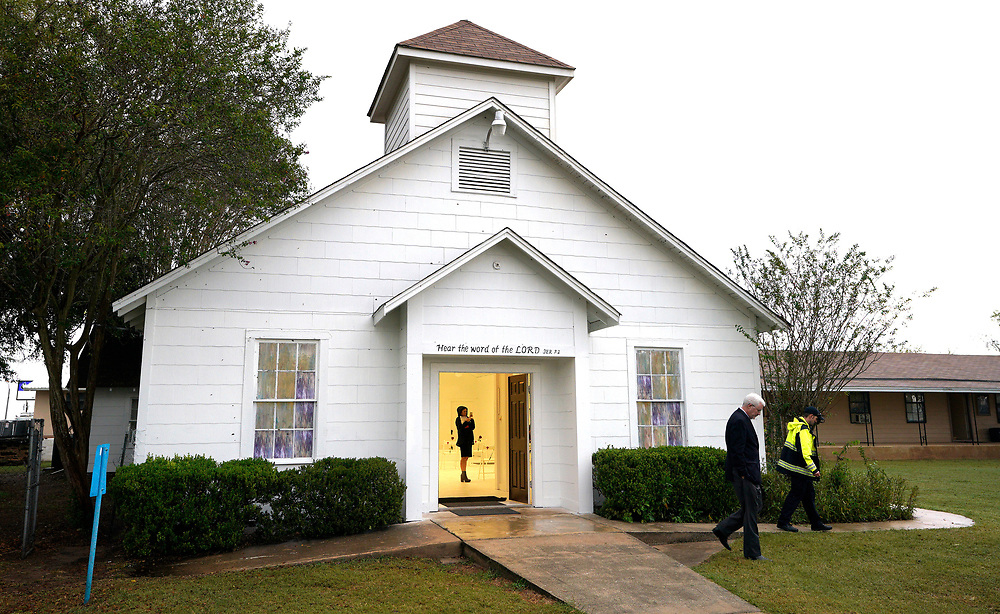 A member of the media walks inside the First Baptist Church of Sutherland Springs where 26 people were killed one week ago, as the church was opened to the public as a memorial to those killed, in Sutherland Springs, Texas, U.S. November 12, 2017.  REUTERS/Rick Wilking