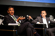 """Mike Calise, Director, Schneider Electric, San Francisco, on the panel """"Where Are You Joe Schumpeter? A Discussion on Electric Vehicles"""" at the Manhattan Chamber of Commerce's Transportation Transformation Global Summit at NYIT in New York on April 26, 2012."""