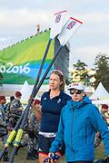 "Rio de Janeiro. BRAZIL.   2016 Olympic Rowing Regatta. Lagoa Stadium, Victoria MEYER LAKER, carries her Sculls,<br /> Copacabana,  ""Olympic Summer Games""<br /> Rodrigo de Freitas Lagoon, Lagoa.   Thursday  11/08/2016 <br /> <br /> [Mandatory Credit; Peter SPURRIER/Intersport Images]"