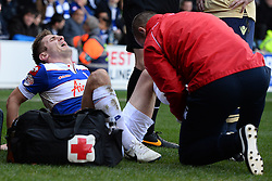 QPR's Kevin Doyle gets treatment on an ankle injury - Photo mandatory by-line: Mitchell Gunn/JMP - Tel: Mobile: 07966 386802 01/03/2014 - SPORT - FOOTBALL - Loftus Road - London - Queens Park Rangers v Leeds United - Championship