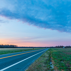 Dawn above Maryland Route 335 in Church Creek, Maryland.