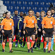 Referee's Mete Kalkavan (C) during their Turkish Superleague soccer match Kasimpasa SK between Fenerbahce at the Recep Tayyip Erdogan stadium in Istanbul Turkey on Saturday 24 January 2015. Photo by Aykut AKICI/TURKPIX