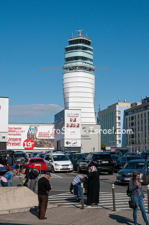 Air traffic control tower at Vienna International Airport (Flughafen Wien) Austria