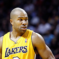 19 January 2012: Los Angeles Lakers point guard Derek Fisher (2) is seen during the Miami Heat 98-87 victory over the Los Angeles Lakers at the AmericanAirlines Arena, Miami, Florida, USA.