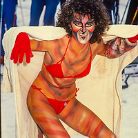 TJ Dunin poses in her costume at the annual Bikini Race Copper Mountain Ski Area, Colorado.