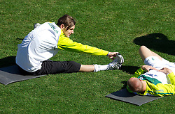 Milivoje Novakovic of Slovenia and Miso Brecko of Slovenia during a training session at  Hyde Park High School Stadium on June 14, 2010 in Johannesburg, South Africa.  (Photo by Vid Ponikvar / Sportida)