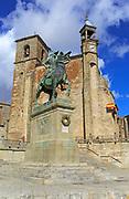 Iglesia de San Martin church and Pizarro statue in historic medieval town of Trujillo, Caceres province, Extremadura, Spain