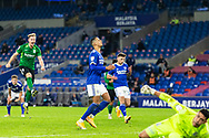 PENALTY MISS Cardiff City's Robert Glatzel (9) misses a penalty while Birmingham City's Marc Roberts (4) celebrates in the background during the EFL Sky Bet Championship match between Cardiff City and Birmingham City at the Cardiff City Stadium, Cardiff, Wales on 16 December 2020.