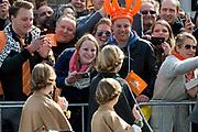 Koningsdag in Dordrecht / Kingsday in Dordrecht<br /> <br /> Op de foto / On the photo: <br /> Prinses Amalia , Prinses Alexia en Prinses Ariane<br /> <br /> Princess Amalia, Princess Alexia and Princess Ariane