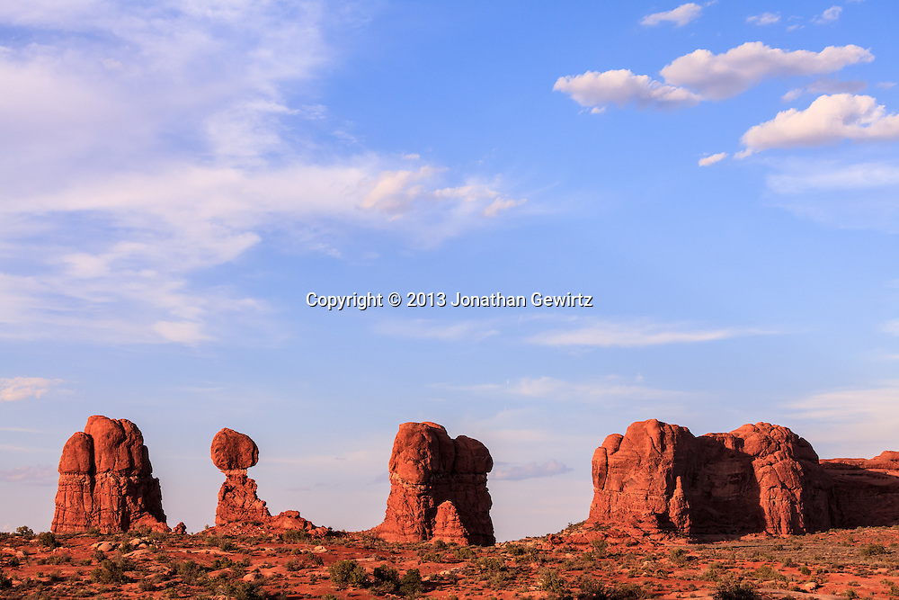 Dramatic rock formations in Arches National Park, Utah. WATERMARKS WILL NOT APPEAR ON PRINTS OR LICENSED IMAGES.<br /> <br /> Licensing: https://tandemstock.com/assets/68808237
