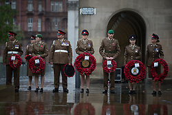 © Licensed to London News Pictures . 08/11/2015 . Manchester , UK . Preparations ahead of this morning's (Sunday 8th November) Remembrance Sunday service at the Cenotaph in Manchester . Photo credit : Joel Goodman/LNP