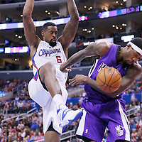 23 November 2013: Los Angeles Clippers center DeAndre Jordan (6) dunks over Sacramento Kings small forward John Salmons (5) during the Los Angeles Clippers 103-102 victory over the Sacramento Kings at the Staples Center, Los Angeles, California, USA.