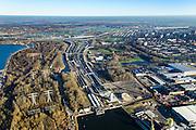 Nederland, Noord-Holland, Amsterdam, 11-12-2013; toerit Coentunnel met links buis van 2e Coentunnel, gezien naar Coenplein.<br /> Entrance Coen tunnel, North Amsterdam.<br /> luchtfoto (toeslag op standaard tarieven);<br /> aerial photo (additional fee required);<br /> copyright foto/photo Siebe Swart.