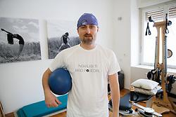 Rok Plestenjak, a journalist of Siol Sportal during Gyrotonic Exercise Demonstration and Explanation on January 17, 2013 in GYROTONIC studio Ljubljana, Wolfova 1, Slovenia. (Photo by Vid Ponikvar / Sportida.com)