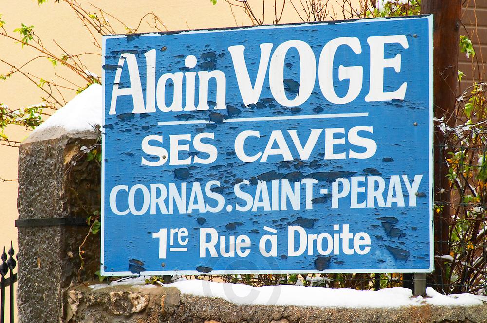 Alain Voge his wine cellar Cornas Saint Peray first street to the right Alain Voge, Cornas, Ardeche, Ardèche, France, Europe