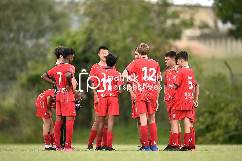 BRISBANE, AUSTRALIA - MARCH 12:  during the NPL Queensland u15's Round 1 match between Olympic FC and SWQ Thunder on March 7, 2021 in Brisbane, Australia. (Photo by Patrick Kearney)