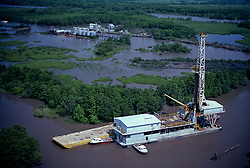 Stock photo of an aerial view of a Inland Drill Barges/Swamp barges