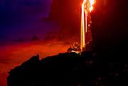 Lava into flowing into ocean, Hawaii Volcanoes National Park, Kilauea Volcano, Big Island of Hawaii