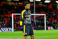 Francis Coquelin (34) of Arsenal warming up before the Premier League match between Bournemouth and Arsenal at the Vitality Stadium, Bournemouth, England on 3 January 2017. Photo by Graham Hunt.