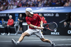 September 21, 2018 - Chicago, Illinois, U.S - DIEGO SCHWARTZMAN of Argentina hits a backhand during the third singles match on Day One of the Laver Cup at the United Center in Chicago, Illinois. (Credit Image: © Shelley Lipton/ZUMA Wire)