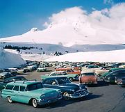 1212-05. Mt. Hood, Timberline parking lot. 1958