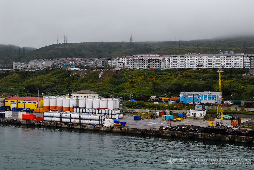 Russia, Sakhalin. Kholmsk is an important sea port for the island of Sakhalin. The harbour.