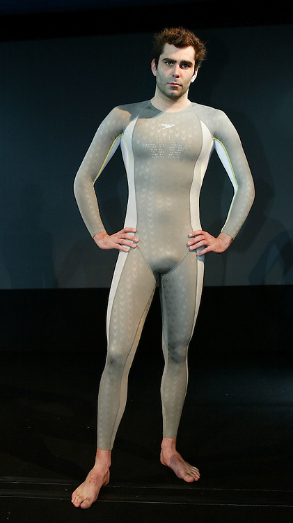 Remo LUETOLF of Switzerland poses in the new Speedo FASTSKIN FSII (FS2) swim suit on Tuesday, March 9, 2004, at the launch party in London. (Photo by Patrick B. Kraemer/MAGICPBK)