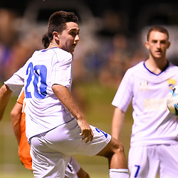 BRISBANE, AUSTRALIA - FEBRUARY 10: Joshua Mussell of United heads the ball during the NPL Queensland Senior Mens Round 2 match between Gold Coast United and Brisbane Roar Youth at Station Reserve on February 10, 2018 in Brisbane, Australia. (Photo by Football Click / Patrick Kearney)