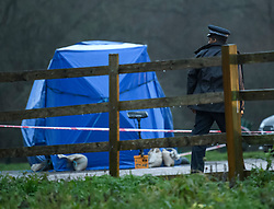 © Licensed to London News Pictures. 20/12/2019. London, UK.  Police officer stands over a police tent at the scene at Sophe Lounge in Scatchwood Park near the A1 Edgware, North West London where the body of a man was found inside a car with multiple stab wounds. Photo credit: Ben Cawthra/LNP