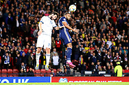 Scotland forward Matt Phillips (19) (West Bromwich Albion) and Georgy Dzhikiya of Russia (14) (Zenit St Petersburg) challenge for the high ball during the UEFA European 2020 Qualifier match between Scotland and Russia at Hampden Park, Glasgow, United Kingdom on 6 September 2019.