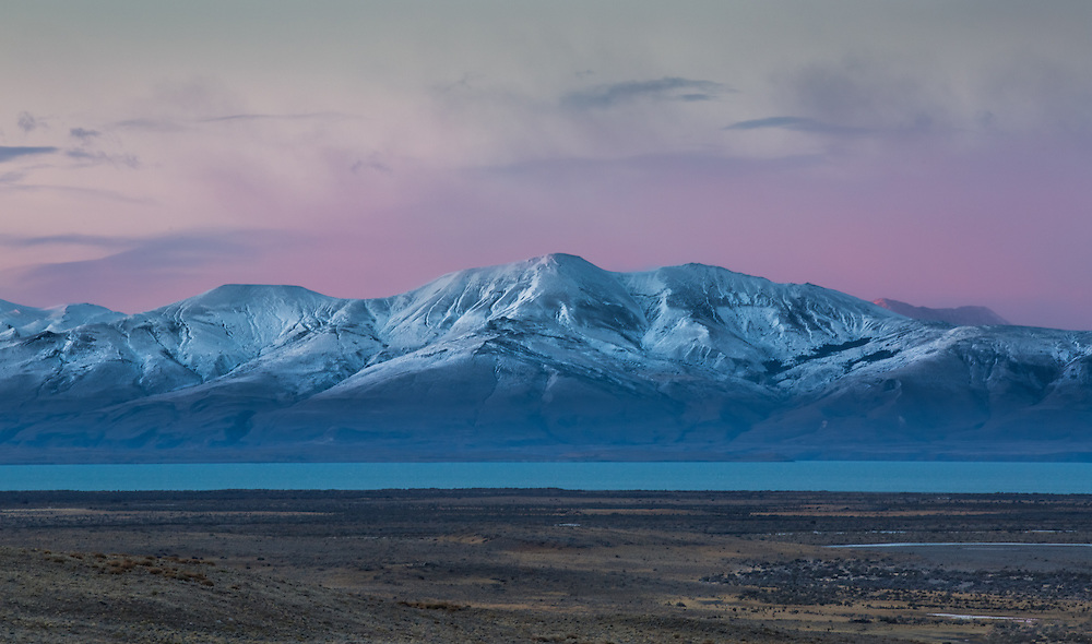 An early morning sky greets the mountains in Argentina's Los Glaciares National Park.